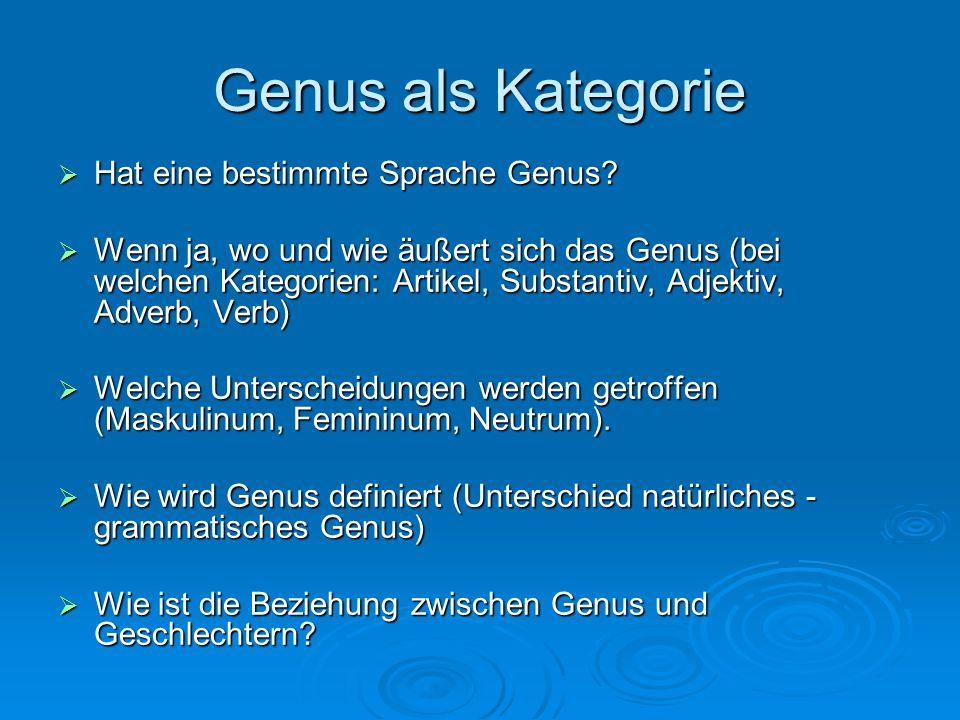 Genus als Kategorie  Hat eine bestimmte Sprache Genus.
