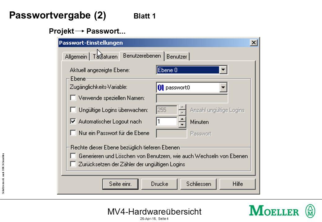 Schutzvermerk nach DIN 34 beachten MV4-Hardwareübersicht 25-Apr-15, Seite 4 Projekt Passwort...
