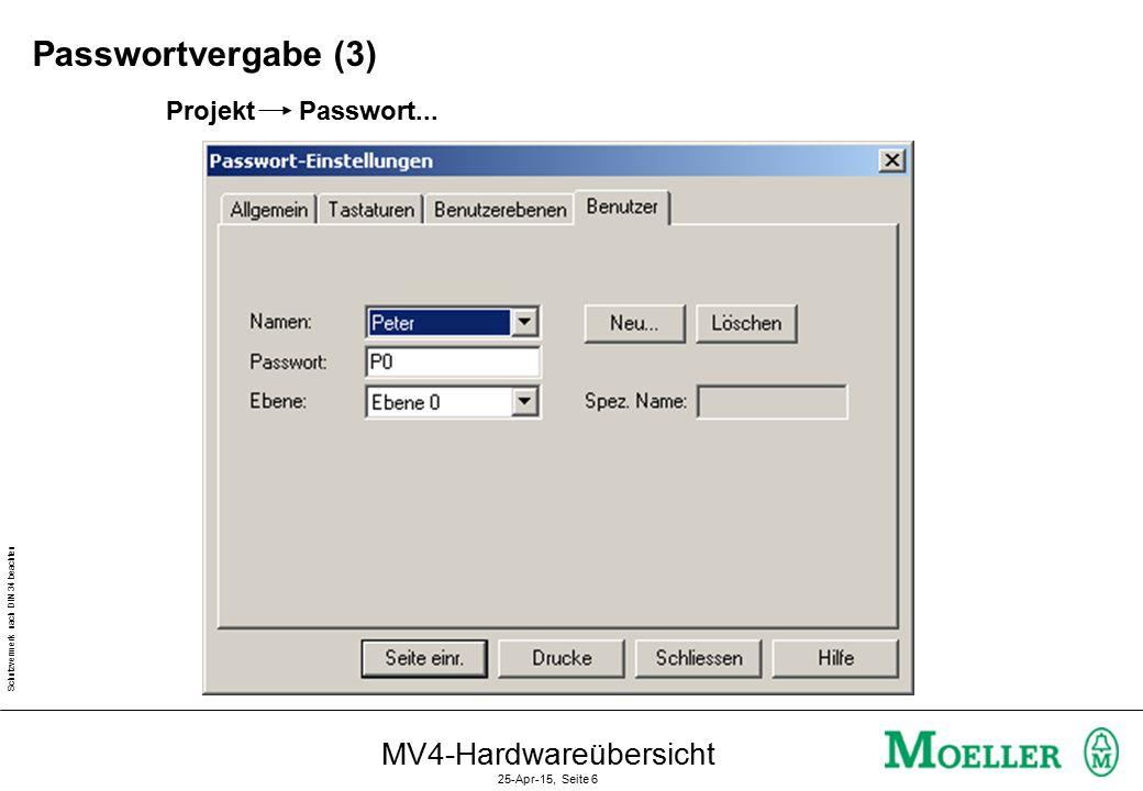 Schutzvermerk nach DIN 34 beachten MV4-Hardwareübersicht 25-Apr-15, Seite 6 Projekt Passwort...