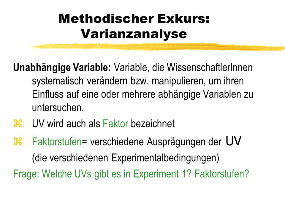 Methodischer Exkurs: Varianzanalyse Unabhängige Variable: Variable, die WissenschaftlerInnen systematisch verändern bzw. manipulieren, um ihren Einflu