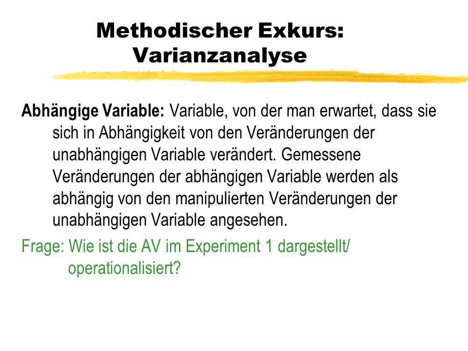 Methodischer Exkurs: Varianzanalyse Abhängige Variable: Variable, von der man erwartet, dass sie sich in Abhängigkeit von den Veränderungen der unabhä