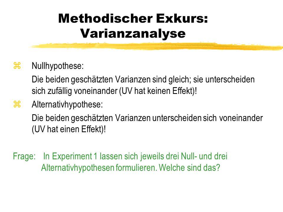 Methodischer Exkurs: Varianzanalyse zNullhypothese: Die beiden geschätzten Varianzen sind gleich; sie unterscheiden sich zufällig voneinander (UV hat