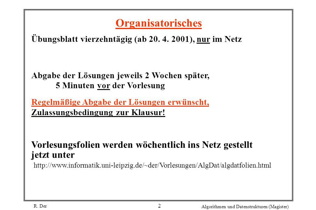 R. Der Algorithmen und Datenstrukturen (Magister) 2 Organisatorisches Übungsblatt vierzehntägig (ab 20. 4. 2001), nur im Netz Abgabe der Lösungen jewe