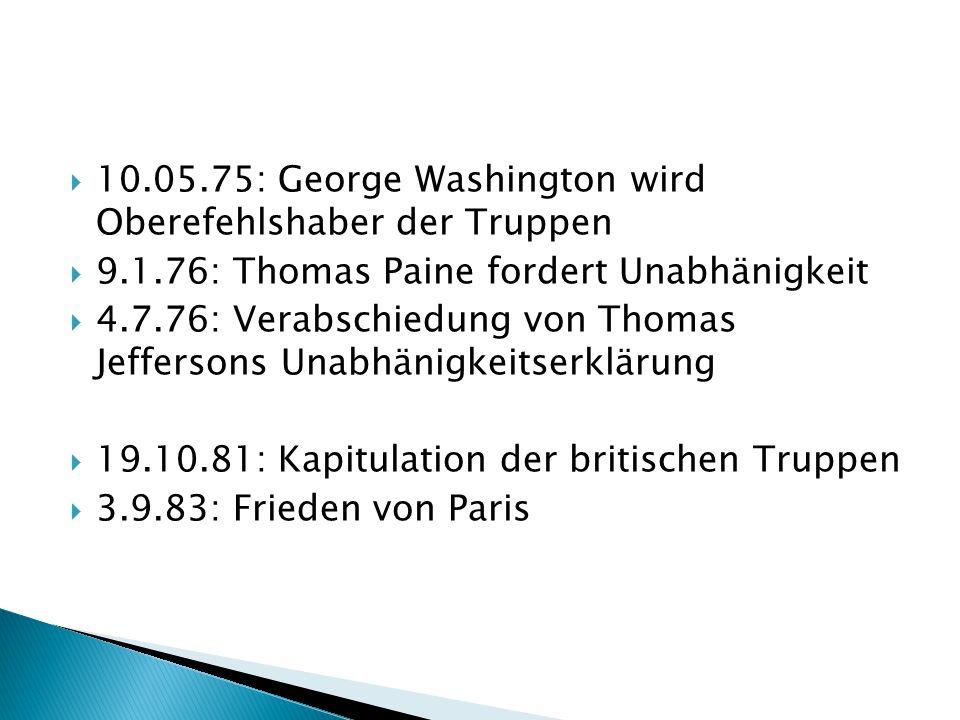  Lebte von 1732-1799  1775-1783 Oberbefehlshaber  1789-1797 1.
