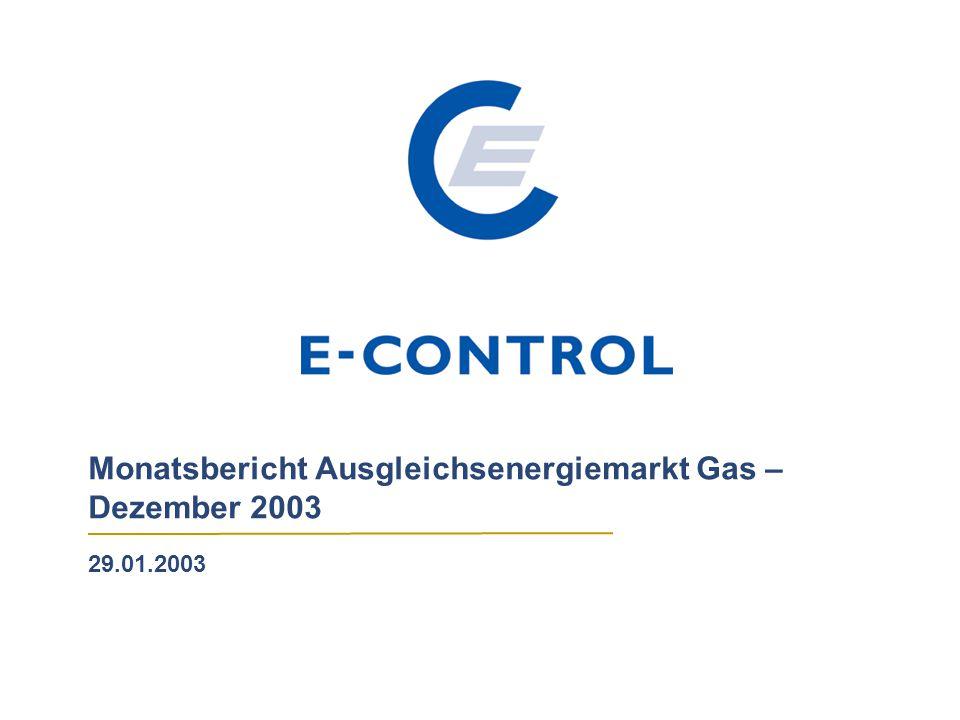 Monatsbericht Ausgleichsenergiemarkt Gas – Dezember 2003 29.01.2003