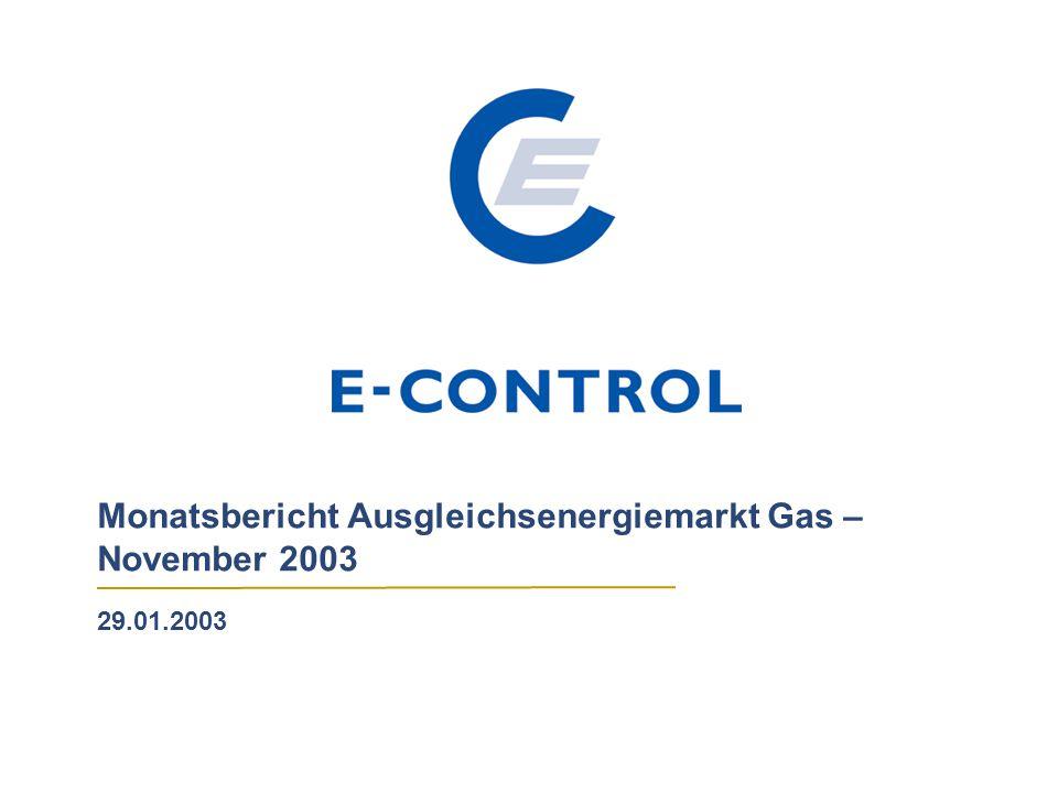 Monatsbericht Ausgleichsenergiemarkt Gas – November 2003 29.01.2003