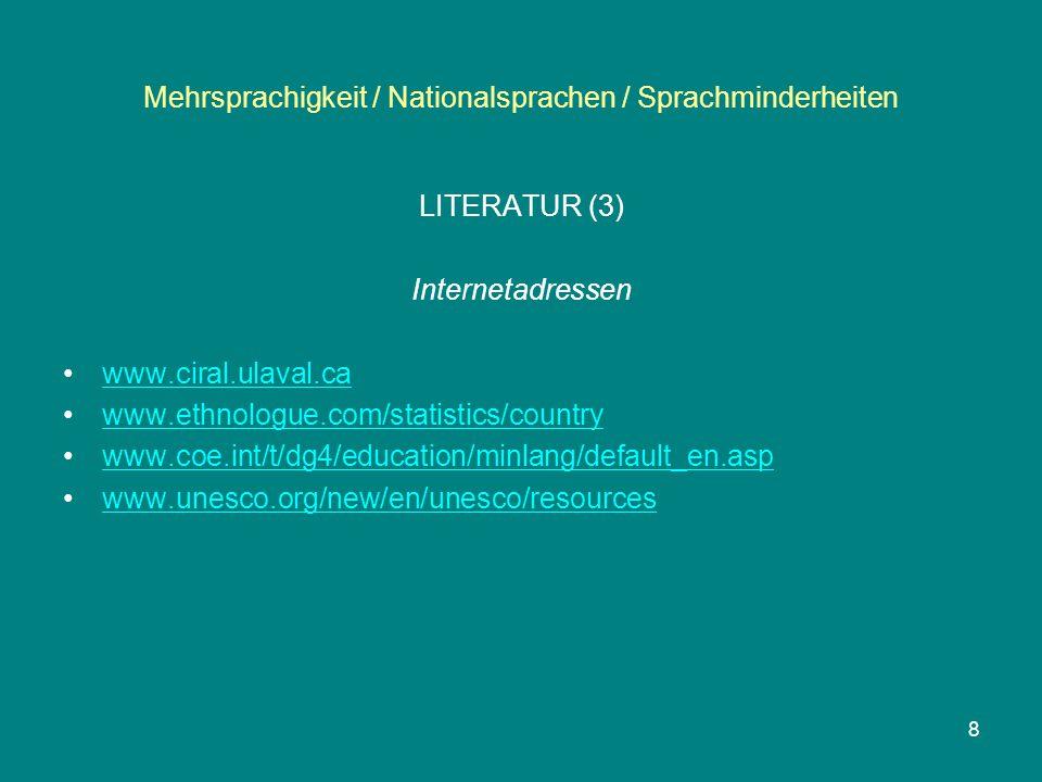 Mehrsprachigkeit / Nationalsprachen / Sprachminderheiten LITERATUR (3) Internetadressen www.ciral.ulaval.ca www.ethnologue.com/statistics/country www.
