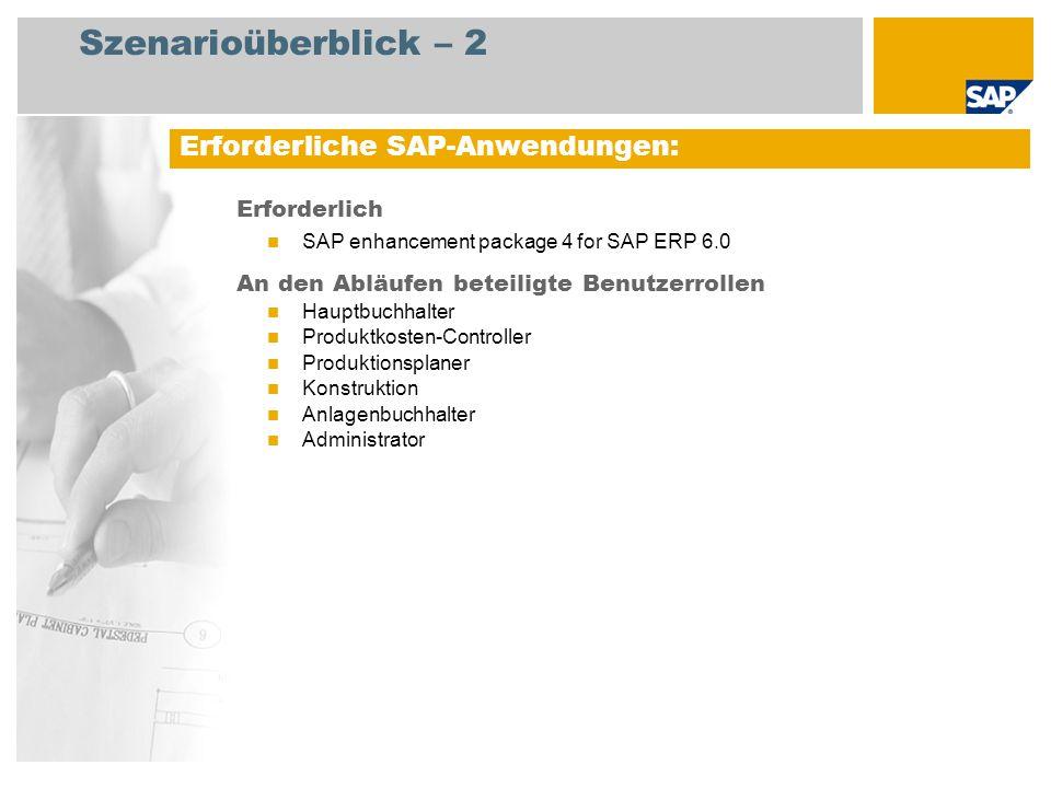 Szenarioüberblick – 2 Erforderlich SAP enhancement package 4 for SAP ERP 6.0 An den Abläufen beteiligte Benutzerrollen Hauptbuchhalter Produktkosten-C