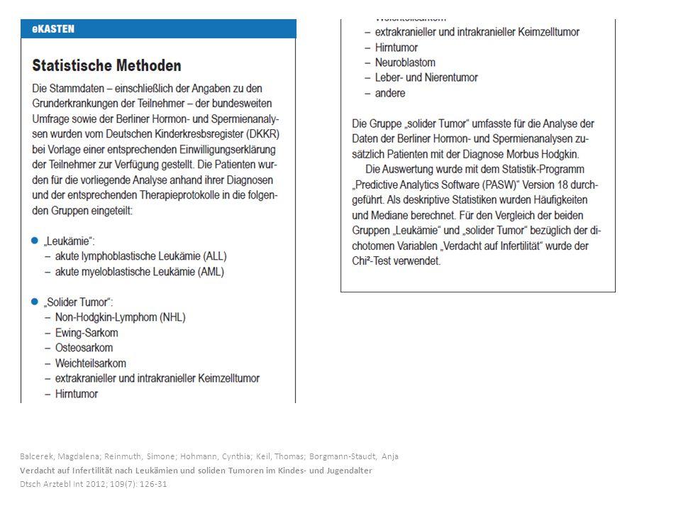 Balcerek, Magdalena; Reinmuth, Simone; Hohmann, Cynthia; Keil, Thomas; Borgmann-Staudt, Anja Verdacht auf Infertilität nach Leukämien und soliden Tumoren im Kindes- und Jugendalter Dtsch Arztebl Int 2012; 109(7): 126-31