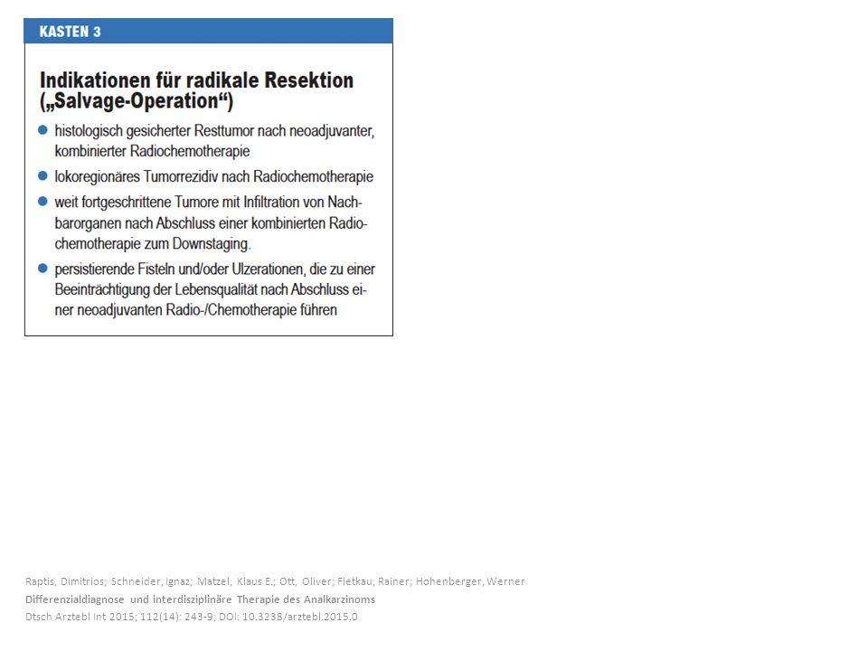Raptis, Dimitrios; Schneider, Ignaz; Matzel, Klaus E.; Ott, Oliver; Fietkau, Rainer; Hohenberger, Werner Differenzialdiagnose und interdisziplinäre Th