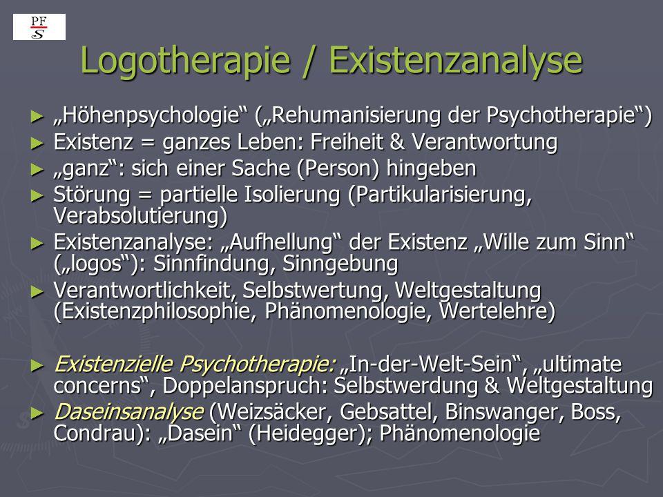 """Logotherapie / Existenzanalyse ► """"Höhenpsychologie"""" (""""Rehumanisierung der Psychotherapie"""") ► Existenz = ganzes Leben: Freiheit & Verantwortung ► """"ganz"""