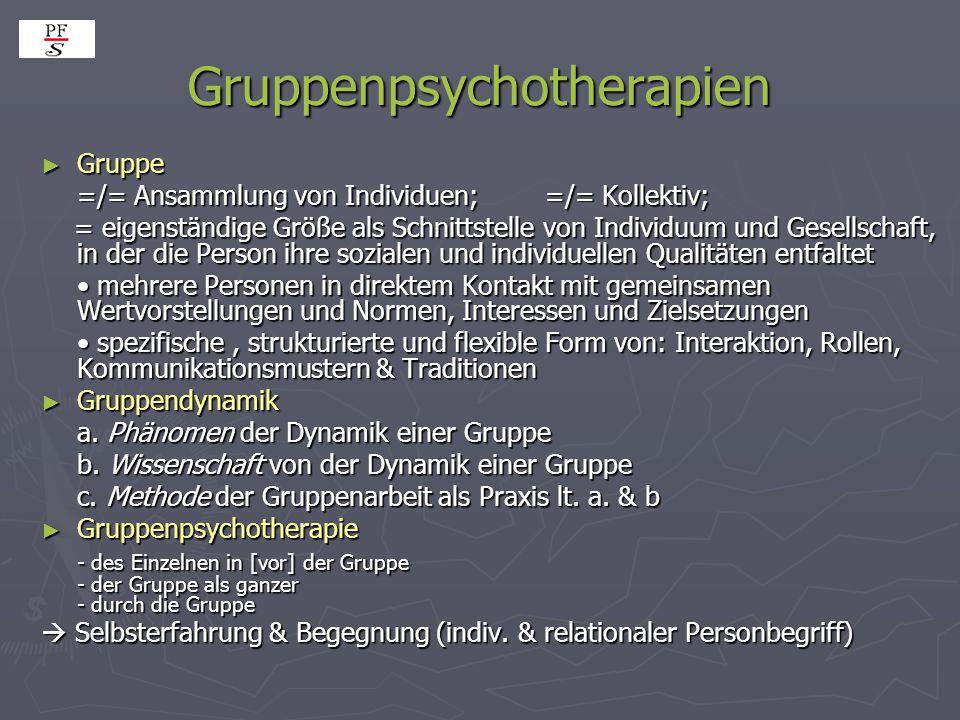 Gruppenpsychotherapien ► Gruppe =/= Ansammlung von Individuen; =/= Kollektiv; = eigenständige Größe als Schnittstelle von Individuum und Gesellschaft,