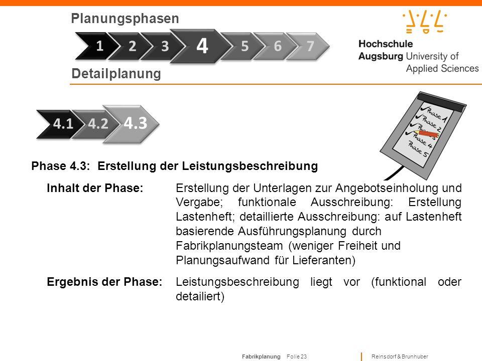 Fabrikplanung Folie 22 Reinsdorf & Brunhuber Planungsphasen Phase 7 1 Phase 4.2: Erstellung von Genehmigungsanträgen Inhalt der Phase:Ausarbeitung der