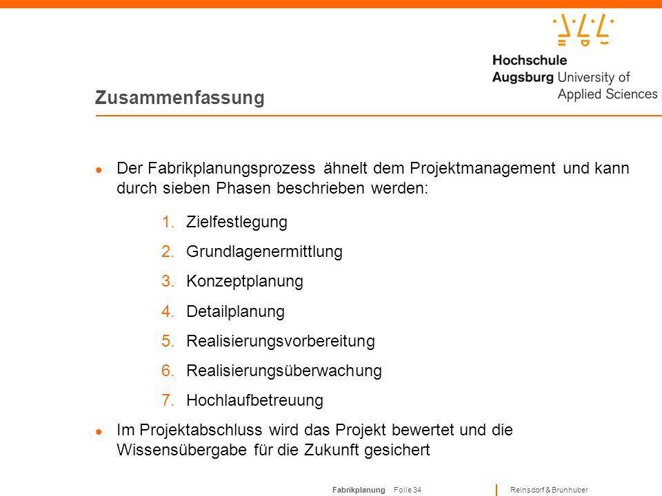 Fabrikplanung Folie 33 Reinsdorf & Brunhuber Zusammenfassung Bei der Fabrikplanung wird in Neuplanung, Umplanung, Rückbau und Revitalisierung untersch