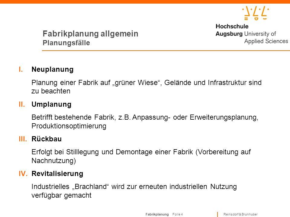 Fabrikplanung Folie 34 Reinsdorf & Brunhuber Zusammenfassung Der Fabrikplanungsprozess ähnelt dem Projektmanagement und kann durch sieben Phasen beschrieben werden: 1.Zielfestlegung 2.Grundlagenermittlung 3.Konzeptplanung 4.Detailplanung 5.Realisierungsvorbereitung 6.Realisierungsüberwachung 7.Hochlaufbetreuung Im Projektabschluss wird das Projekt bewertet und die Wissensübergabe für die Zukunft gesichert
