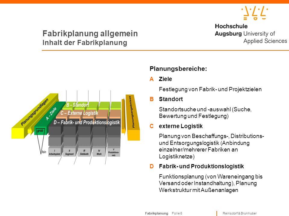 Fabrikplanung Folie 26 Reinsdorf & Brunhuber Planungsphasen Phase 7 1 Phase 5.3: Überwachung der Ausführungsplanung Inhalt der Phase:Prüfung und Freigabe der Ausführungspläne von Lieferanten Ergebnis der Phase:Freigegebene Ausführungspläne liegen vor Realisierungsvorbereitung 5.4 5.15.2 5.3 671234 5