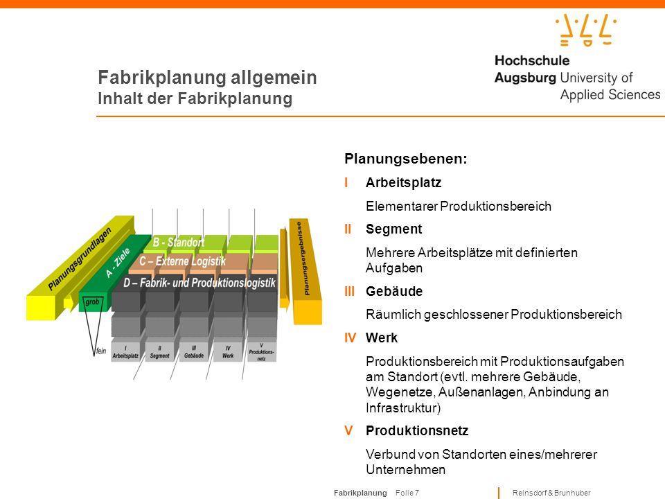 Fabrikplanung Folie 6 Reinsdorf & Brunhuber Fabrikplanung allgemein Inhalt der Fabrikplanung Planungsbereiche: AZiele Festlegung von Fabrik- und Proje