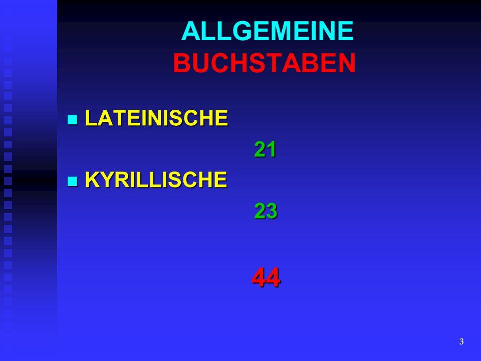 3 ALLGEMEINE BUCHSTABEN LATEINISCHE LATEINISCHE21 KYRILLISCHE KYRILLISCHE2344