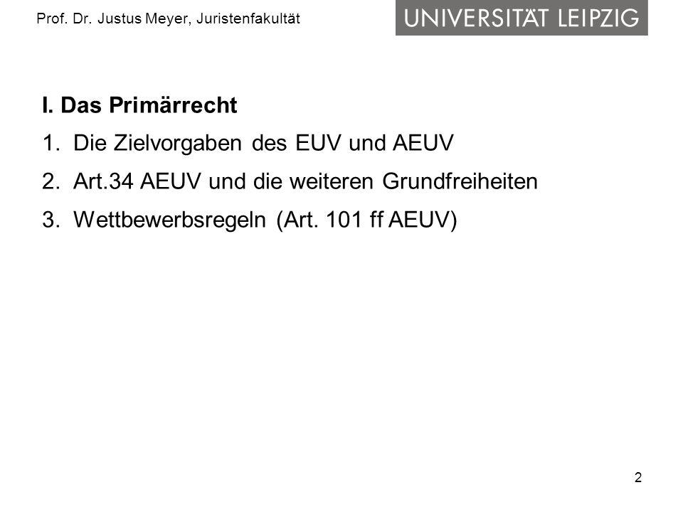 2 Prof. Dr. Justus Meyer, Juristenfakultät I. Das Primärrecht 1.