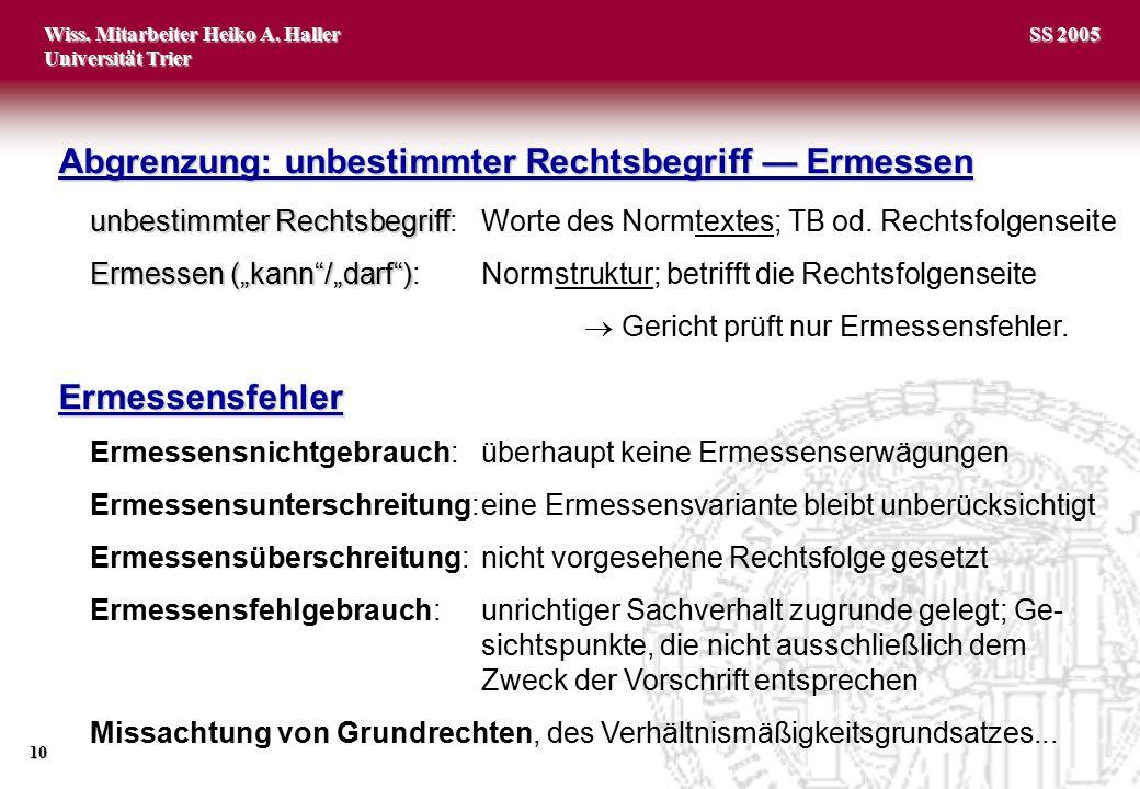 Wiss. Mitarbeiter Heiko A. Haller Universität Trier 10 SS 2005 Abgrenzung: unbestimmter Rechtsbegriff — Ermessen unbestimmter Rechtsbegriff unbestimmt