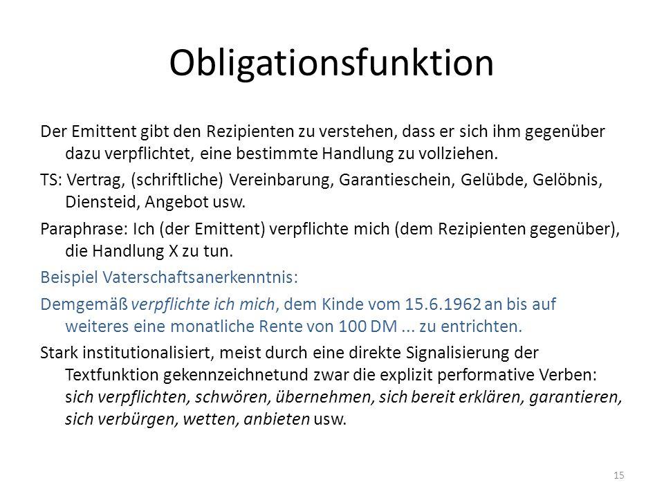 Obligationsfunktion Der Emittent gibt den Rezipienten zu verstehen, dass er sich ihm gegenüber dazu verpflichtet, eine bestimmte Handlung zu vollziehe