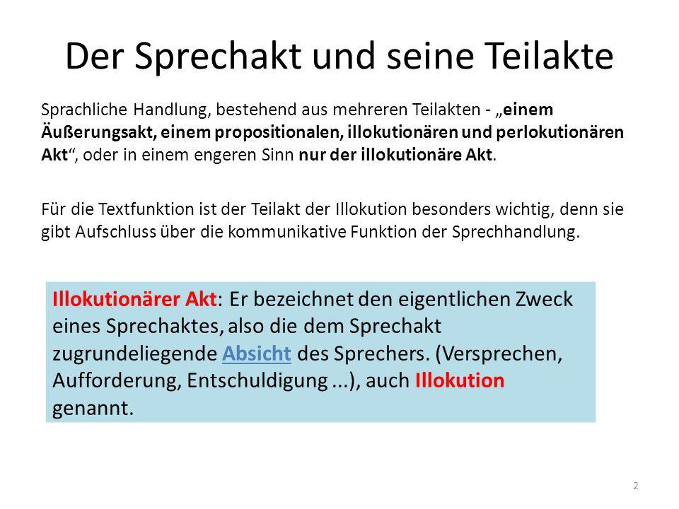 """Allgemeines Textinterne Ebene Ausgangspunkt: Sprechakttheorie/Sprachhandlungen sind Grundlage der Kommunikation Illokution als wichtigster Teilakt – gibt Hinweise, wie die Proposition aufzufassen ist, bezeichnet die kommunikative Funktion der Sprechhandlung, """"legt den Handlungscharakter einer Äußerung fest (BRINKER) Illokutionsindikatoren, performative Verben Textfunktion: bestimmt den """"Kommunikationsmodus des Textes (Brinker, 101) """"Der Terminus Textfunktion bezeichnet die im Text mit bestimmten, konventionell geltenden, d.h."""