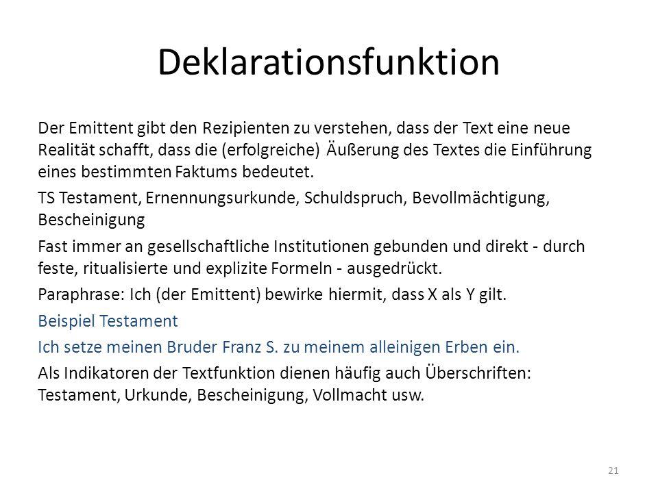Deklarationsfunktion Der Emittent gibt den Rezipienten zu verstehen, dass der Text eine neue Realität schafft, dass die (erfolgreiche) Äußerung des Te