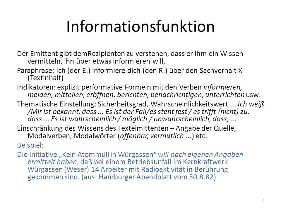 Informationsfunktion Textsorten: Nachricht, Meldung, Bericht, Beschreibung, Untersuchungsbefund, Sachbuch, Buchbesprechung...