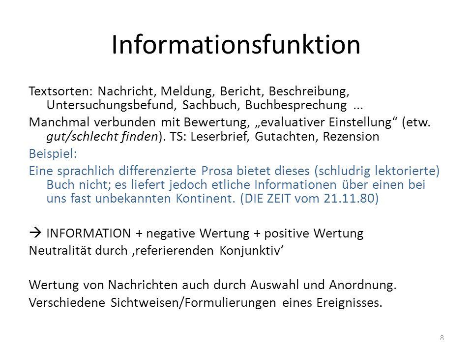 Informationsfunktion Textsorten: Nachricht, Meldung, Bericht, Beschreibung, Untersuchungsbefund, Sachbuch, Buchbesprechung... Manchmal verbunden mit B