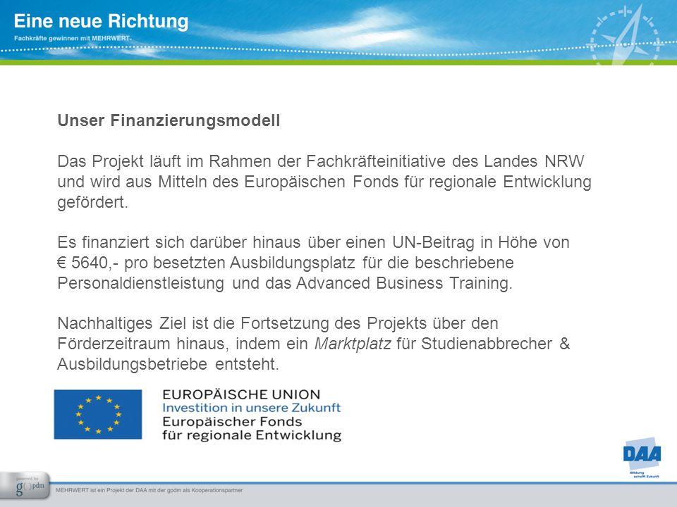 Unser Finanzierungsmodell Das Projekt läuft im Rahmen der Fachkräfteinitiative des Landes NRW und wird aus Mitteln des Europäischen Fonds für regional