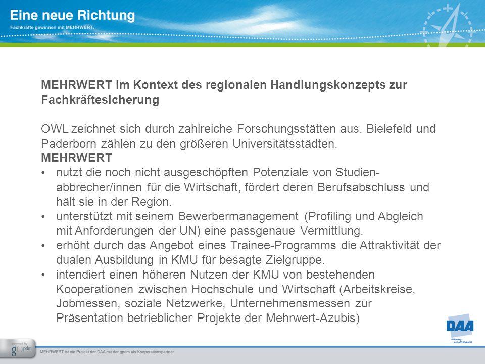 MEHRWERT im Kontext des regionalen Handlungskonzepts zur Fachkräftesicherung OWL zeichnet sich durch zahlreiche Forschungsstätten aus. Bielefeld und P