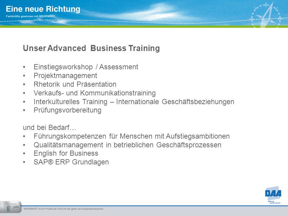 Unser Advanced Business Training Einstiegsworkshop / Assessment Projektmanagement Rhetorik und Präsentation Verkaufs- und Kommunikationstraining Inter