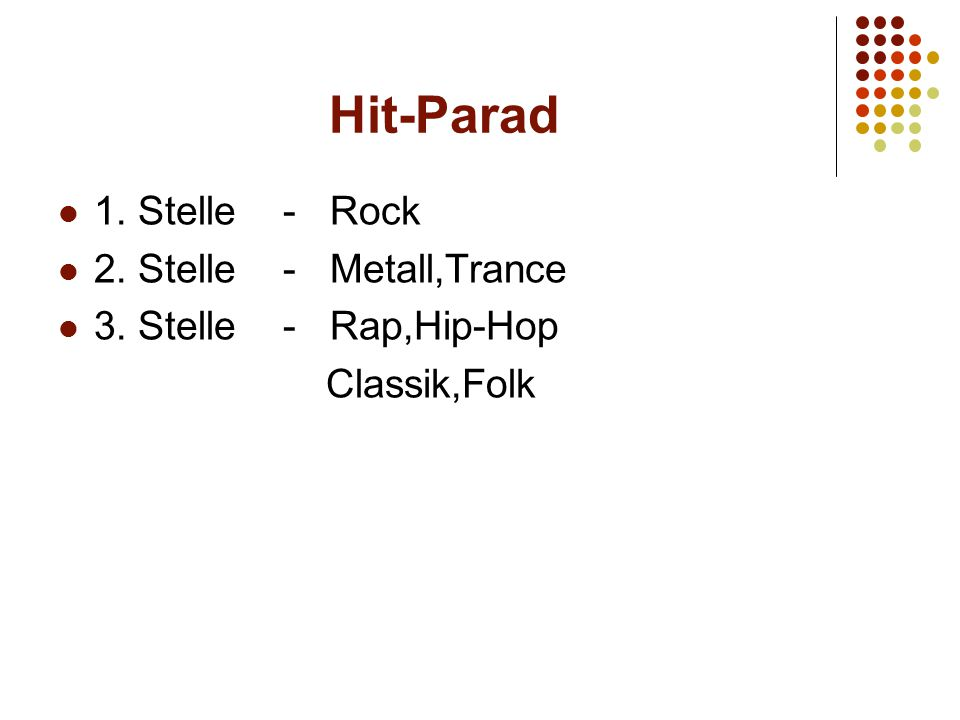 Hit-Parad Musik Pop3221 Rap2312 Hip-Hop 2312 Trance3123 House2321 Hardcore4121 Rock2123 Metall5--3 Classic42-2 Folk 4112