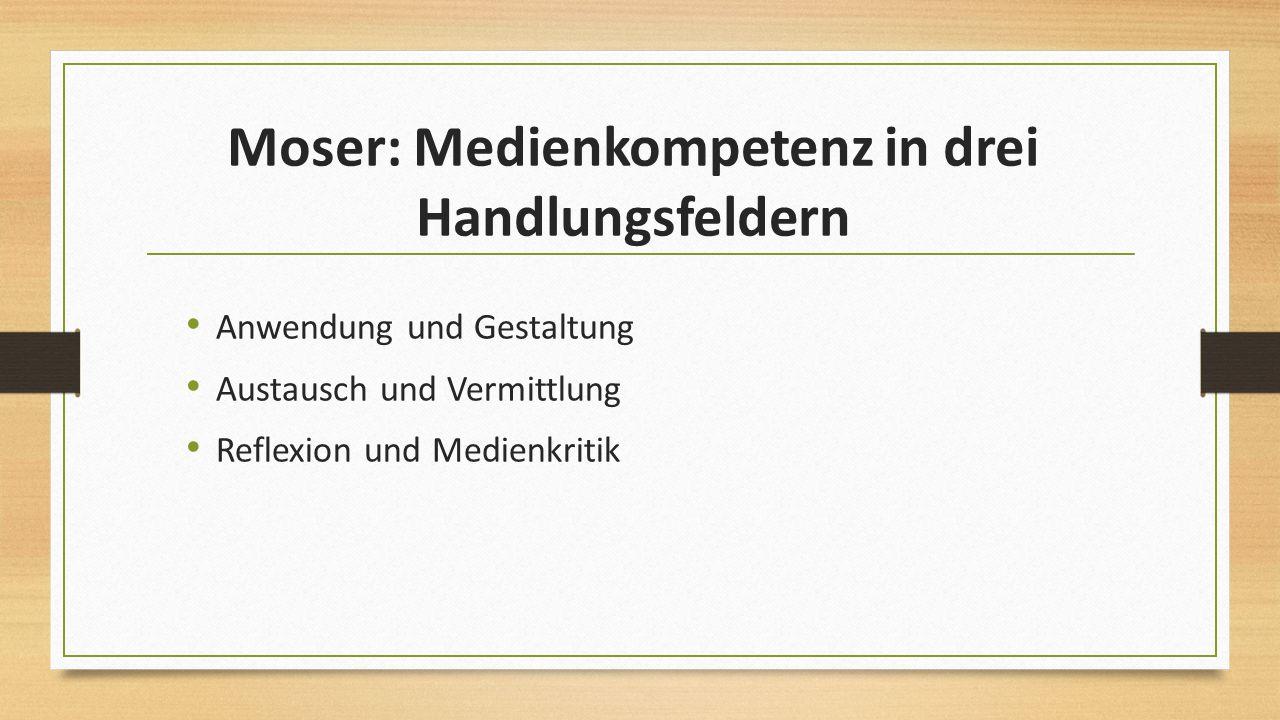 Moser: Medienkompetenz in drei Handlungsfeldern Anwendung und Gestaltung Austausch und Vermittlung Reflexion und Medienkritik