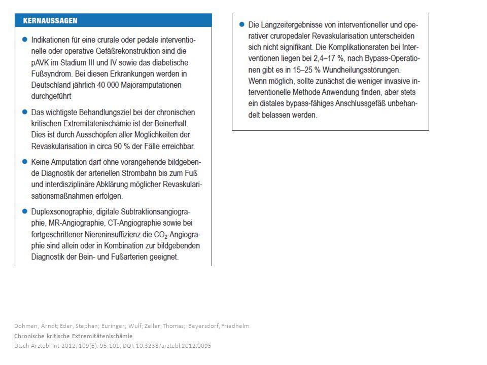 Dohmen, Arndt; Eder, Stephan; Euringer, Wulf; Zeller, Thomas; Beyersdorf, Friedhelm Chronische kritische Extremitätenischämie Dtsch Arztebl Int 2012; 109(6): 95-101; DOI: 10.3238/arztebl.2012.0095