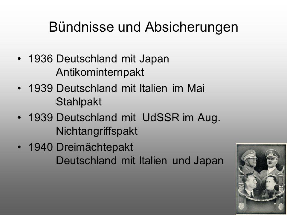 Bündnisse und Absicherungen 1936 Deutschland mit Japan Antikominternpakt 1939 Deutschland mit Italien im Mai Stahlpakt 1939 Deutschland mit UdSSR im A