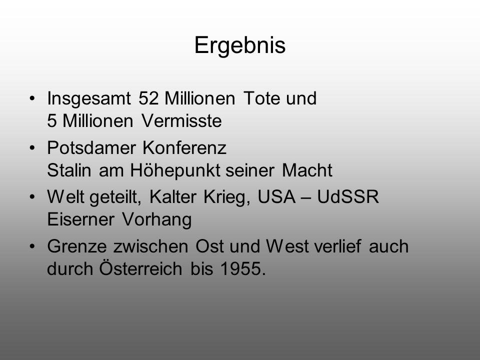 Ergebnis Insgesamt 52 Millionen Tote und 5 Millionen Vermisste Potsdamer Konferenz Stalin am Höhepunkt seiner Macht Welt geteilt, Kalter Krieg, USA –
