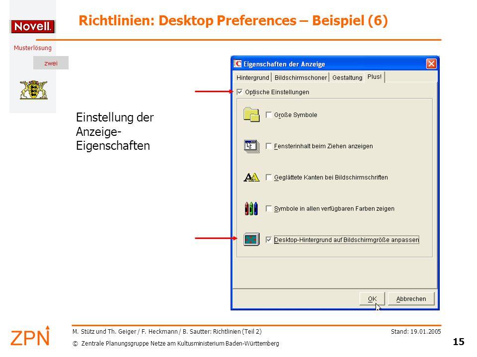 © Zentrale Planungsgruppe Netze am Kultusministerium Baden-Württemberg Musterlösung Stand: 19.01.2005 15 M.