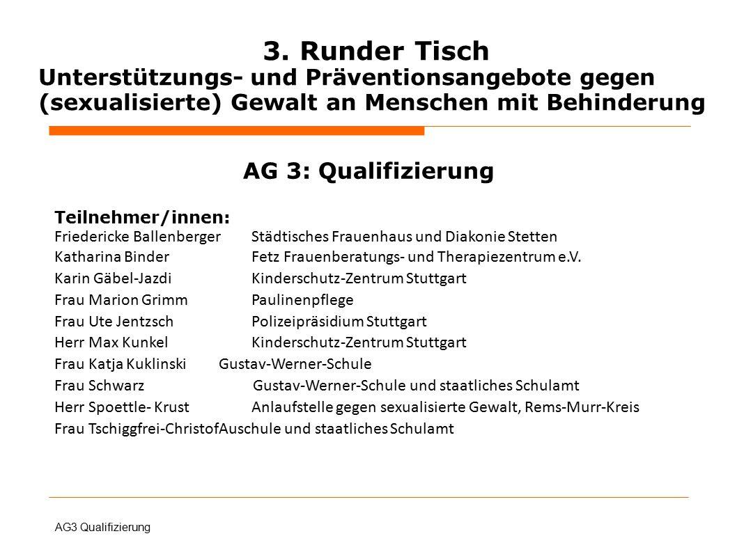 AG 3: Qualifizierung Teilnehmer/innen: Friedericke BallenbergerStädtisches Frauenhaus und Diakonie Stetten Katharina BinderFetz Frauenberatungs- und Therapiezentrum e.V.