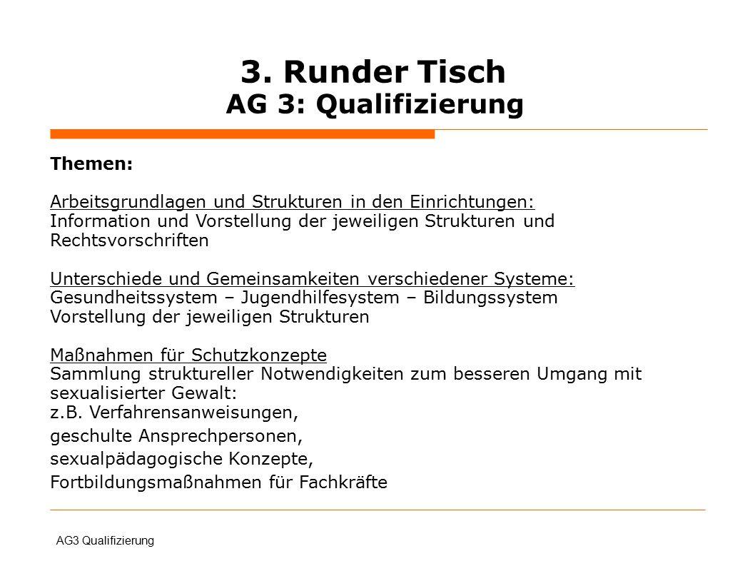 3. Runder Tisch AG 3: Qualifizierung Themen: Arbeitsgrundlagen und Strukturen in den Einrichtungen: Information und Vorstellung der jeweiligen Struktu
