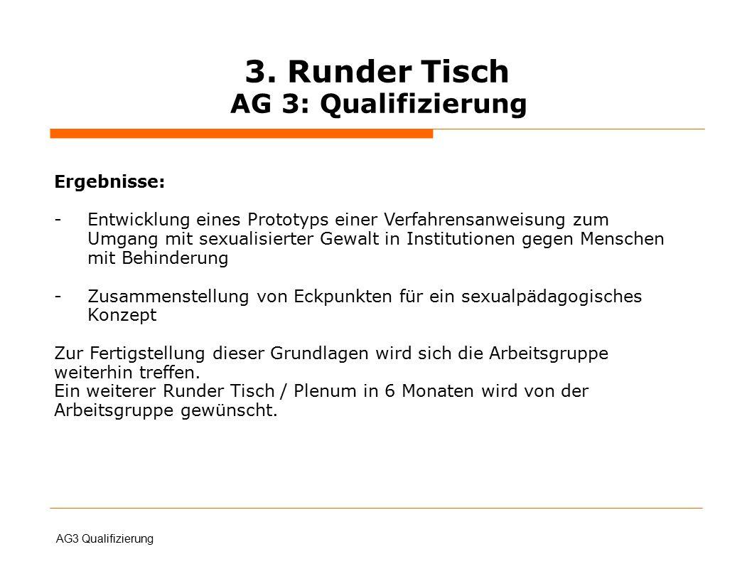 3. Runder Tisch AG 3: Qualifizierung AG3 Qualifizierung Ergebnisse: -Entwicklung eines Prototyps einer Verfahrensanweisung zum Umgang mit sexualisiert