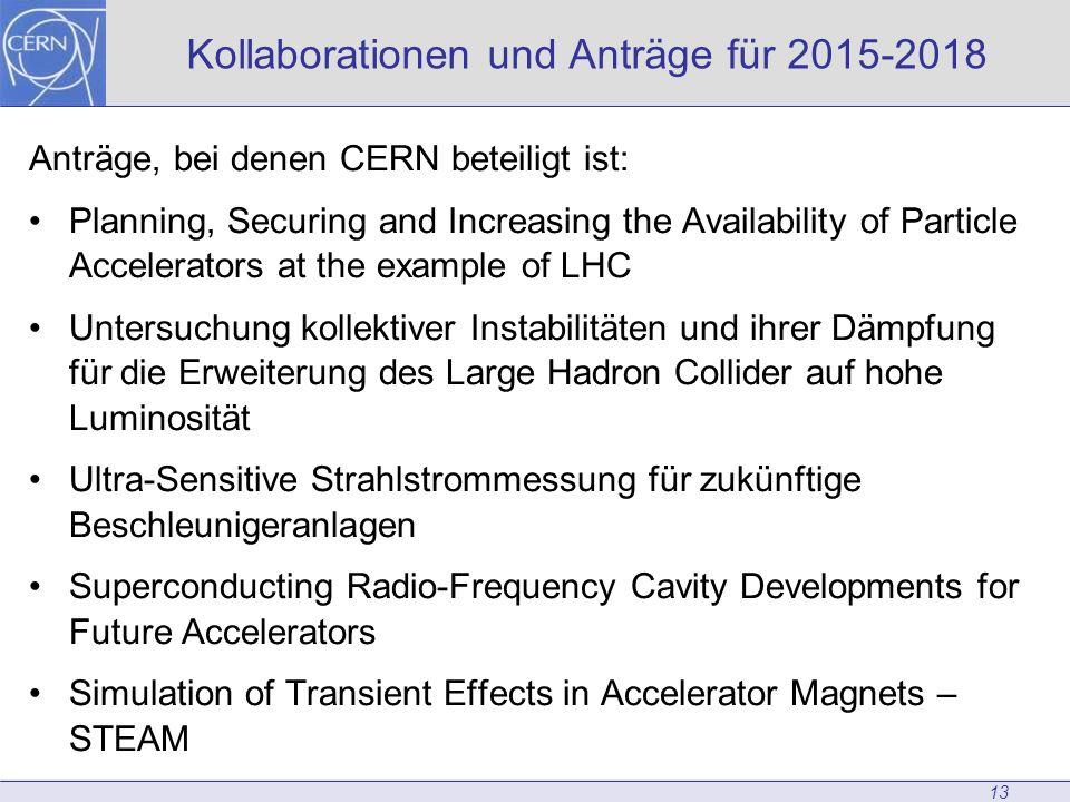 13 Kollaborationen und Anträge für 2015-2018 Anträge, bei denen CERN beteiligt ist: Planning, Securing and Increasing the Availability of Particle Accelerators at the example of LHC Untersuchung kollektiver Instabilitäten und ihrer Dämpfung für die Erweiterung des Large Hadron Collider auf hohe Luminosität Ultra-Sensitive Strahlstrommessung für zukünftige Beschleunigeranlagen Superconducting Radio-Frequency Cavity Developments for Future Accelerators Simulation of Transient Effects in Accelerator Magnets – STEAM