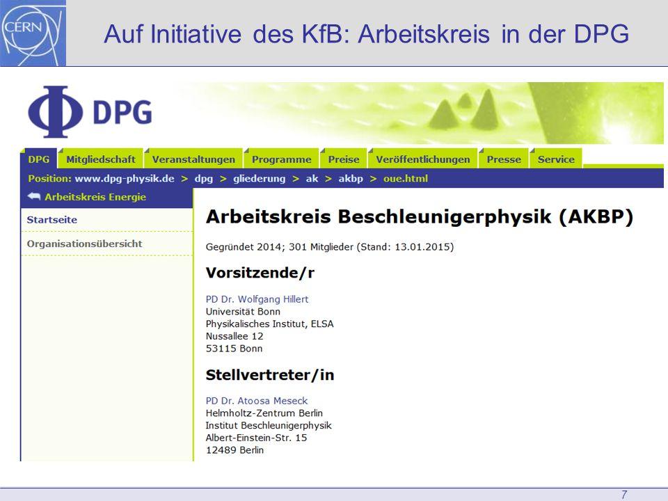 7 Auf Initiative des KfB: Arbeitskreis in der DPG