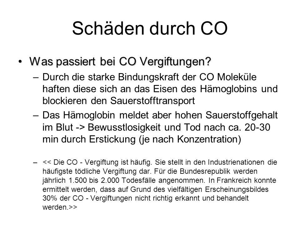 Schäden durch CO Was passiert bei CO Vergiftungen?Was passiert bei CO Vergiftungen? –Durch die starke Bindungskraft der CO Moleküle haften diese sich
