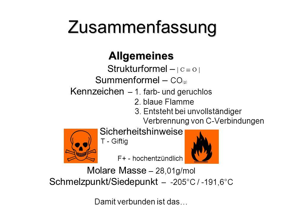 Zusammenfassung Allgemeines Strukturformel – Summenformel – CO (g) Kennzeichen – 1. farb- und geruchlos 2. blaue Flamme 3. Entsteht bei unvollständige
