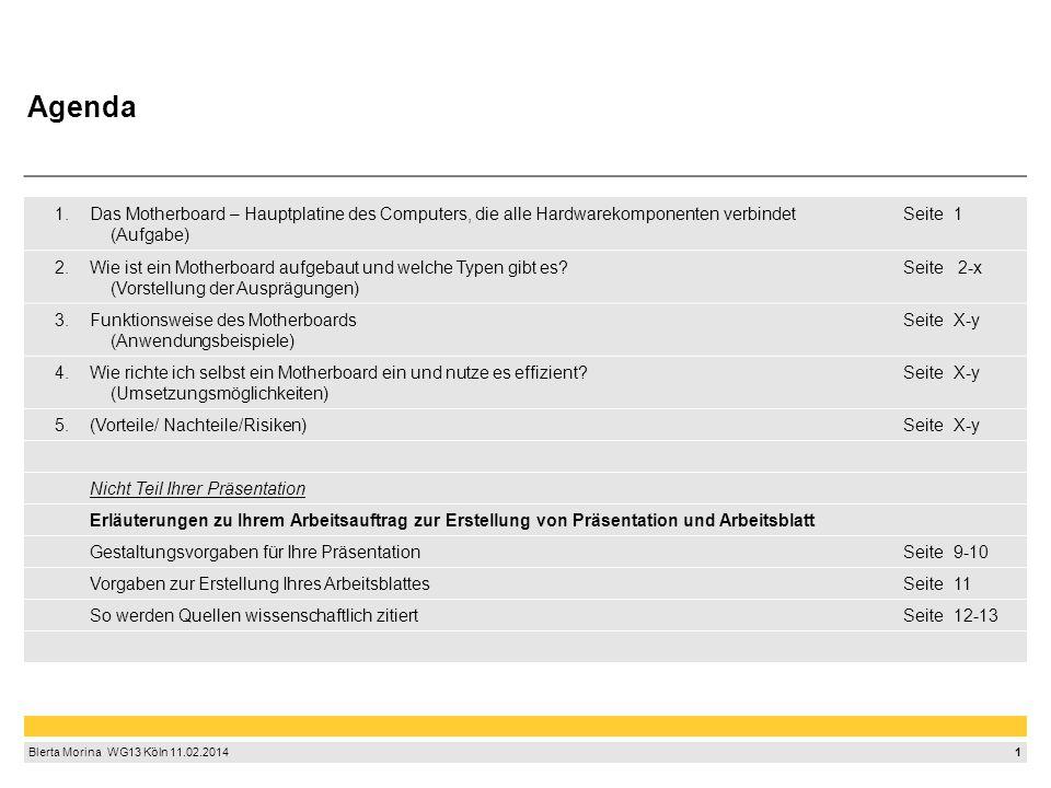 1 Blerta Morina WG13 Köln 11.02.2014 1.Das Motherboard – Hauptplatine des Computers, die alle Hardwarekomponenten verbindet (Aufgabe) Seite1 2.Wie ist ein Motherboard aufgebaut und welche Typen gibt es.