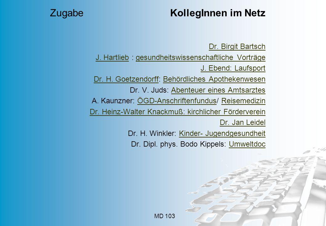 MD 103 Dr. Birgit Bartsch J. HartliebJ. Hartlieb : gesundheitswissenschaftliche Vorträgegesundheitswissenschaftliche Vorträge J. Ebend: Laufsport Dr.