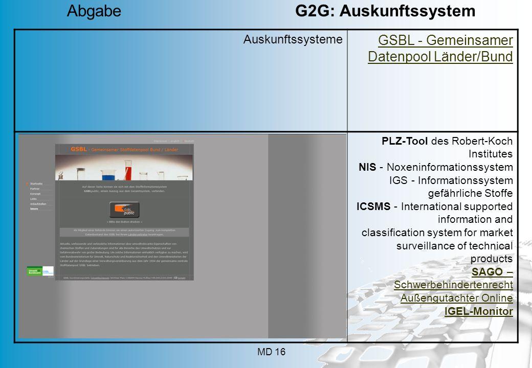 MD 16 Auskunftssysteme GSBL - Gemeinsamer Datenpool Länder/Bund PLZ-Tool des Robert-Koch Institutes NIS - Noxeninformationssystem IGS - Informationssy
