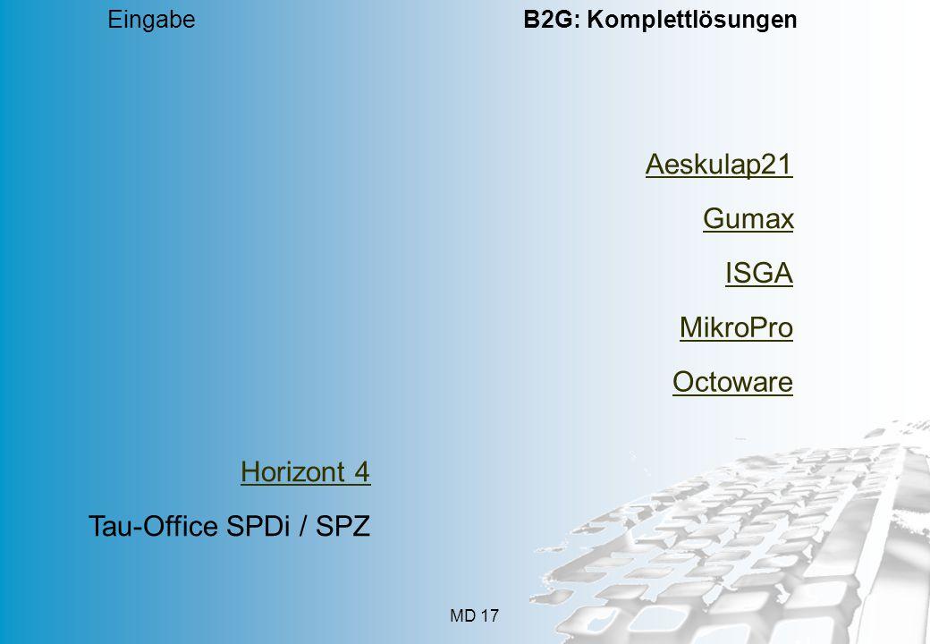 MD 17 Eingabe B2G: Komplettlösungen Aeskulap21 Gumax ISGA MikroPro Octoware Horizont 4 Tau-Office SPDi / SPZ