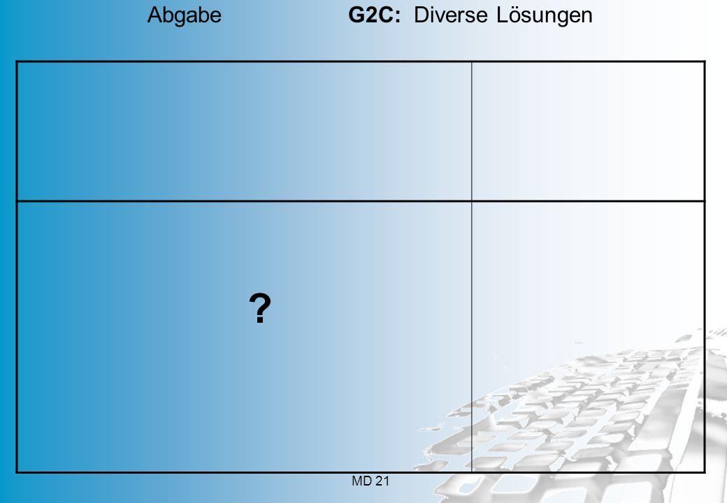 MD 21 ? Abgabe G2C: Diverse Lösungen